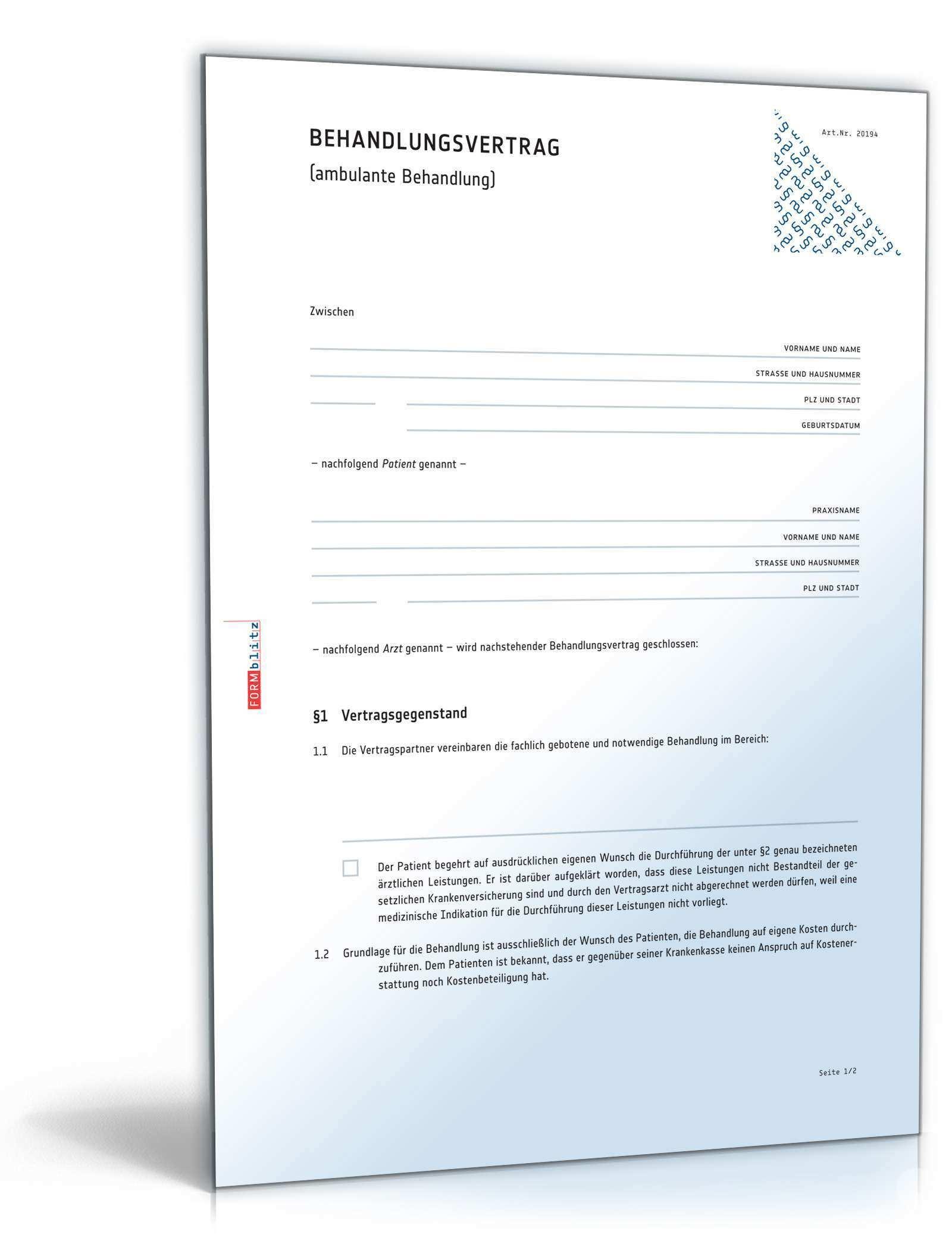 Behandlungsvertrag Vorlage Zum Download