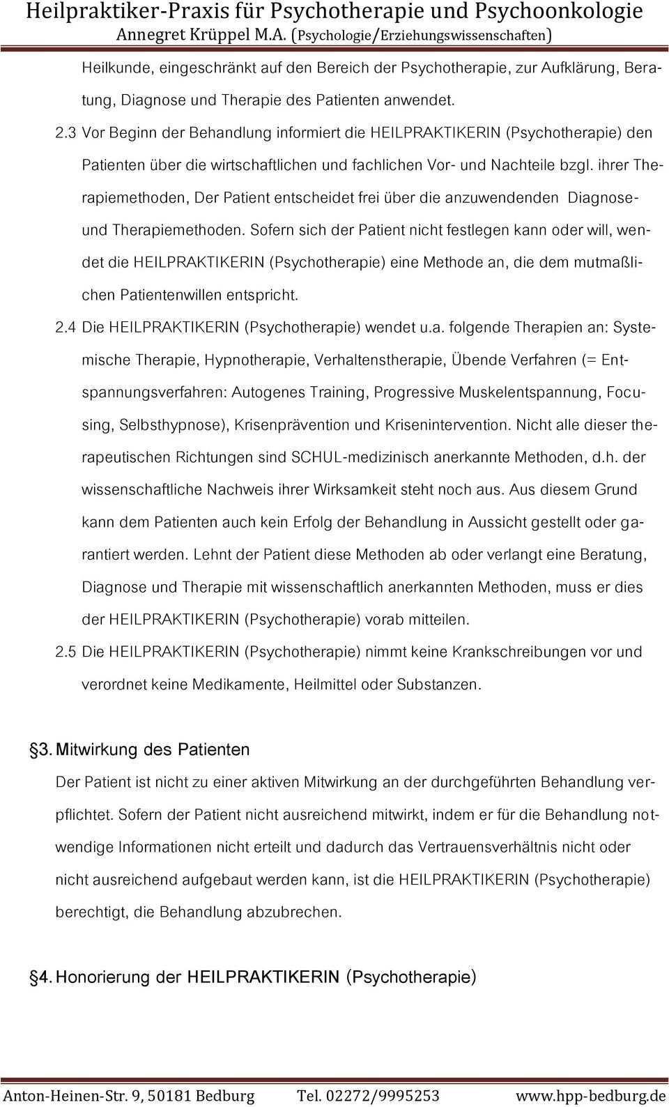 Agb Heilpraktiker Psychotherapie Bedburg Pdf Kostenfreier Download