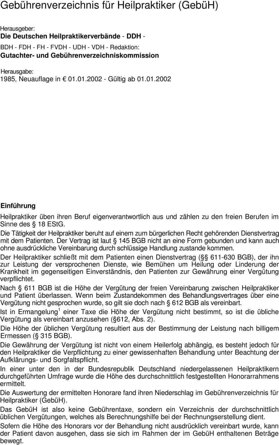 Gebuhrenverzeichnis Fur Heilpraktiker Gebuh Pdf Free Download