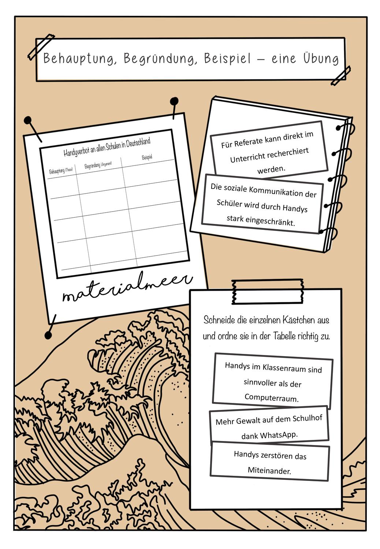 Behauptung Begrundung Beispiel Eine Ubung Unterrichtsmaterial Im Fach Deutsch Behauptung Unterrichtsmaterial Deutsch Unterricht