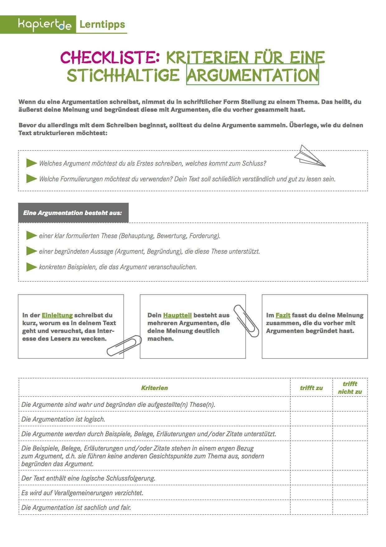 Checkliste Kriterien Fur Eine Argumentation Lernen Tipps Schule Notizheft Fur Kreatives Schreiben Fazit Schreiben