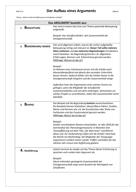 Infoblatt Merkblatt Aufbau Eines Argument Ab 10 Klasse Unterrichtsmaterial In Den Fachern Deutsch Fachubergreifendes Erste Klasse Schulgemeinschaft 10 Klasse