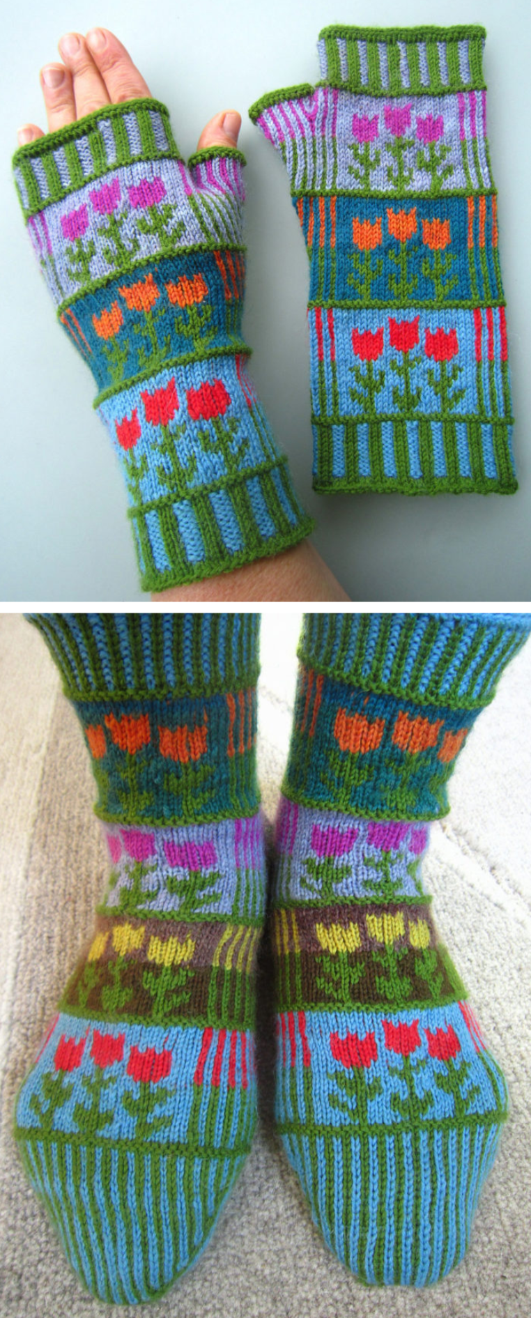 Free Knitting Patterns For Stripes And Tulips Mitts Or Socks Colorful Fingerless Mitts Or Socks Kni Strickmuster Stricken Handschuhe Stricken Socken Stricken