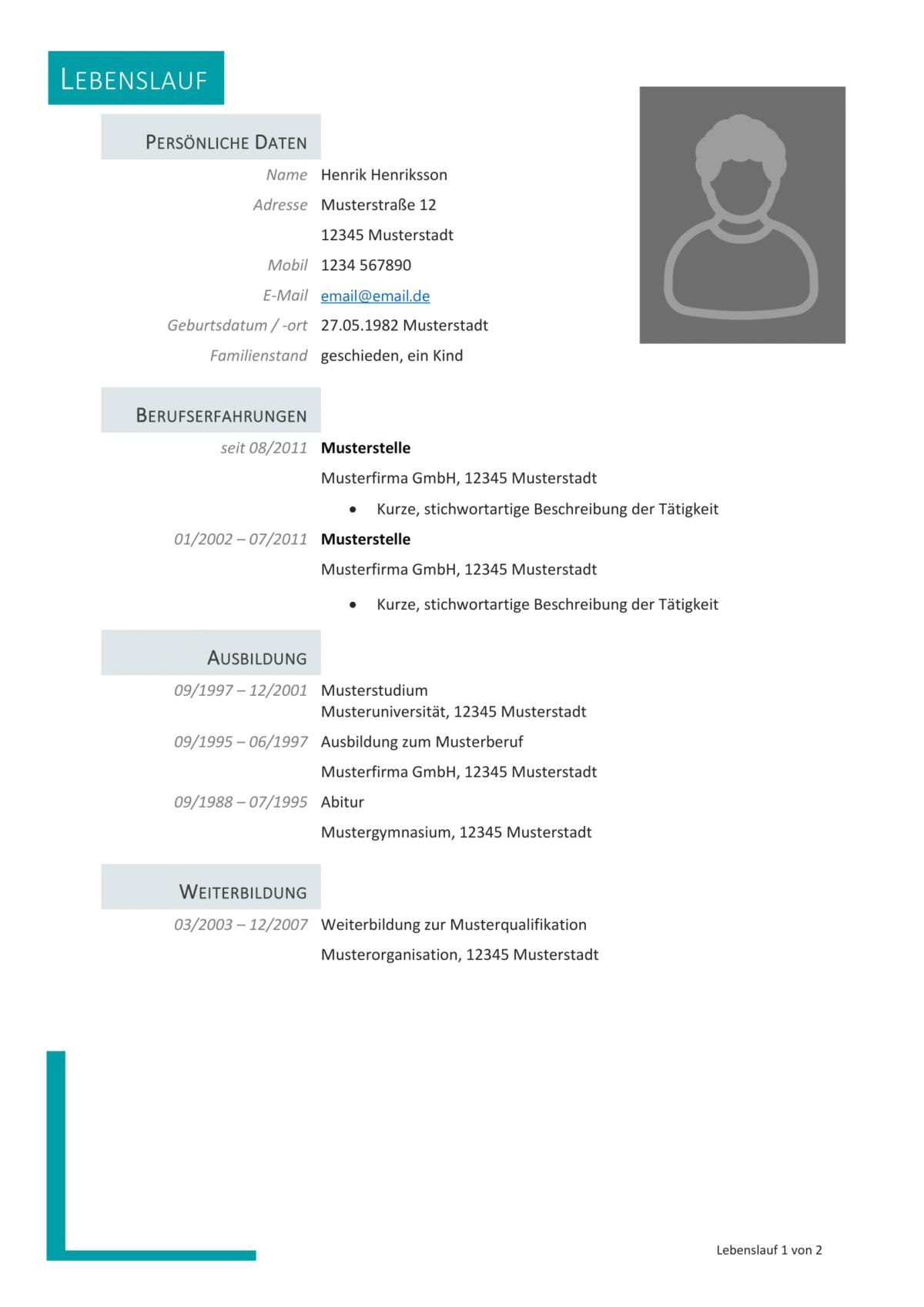 Muster Vorlage Lebenslauf Professionell Resume Words Resume Examples Word 16