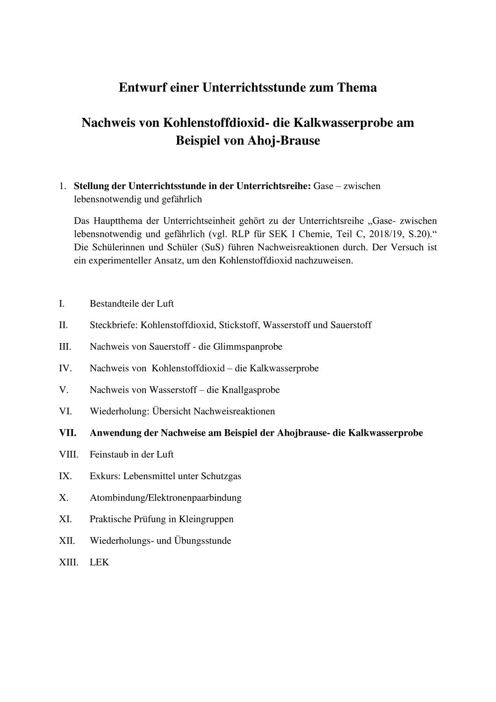 Unterrichtsentwurf Nachweis Von Kohlenstoffdioxid Die Kalkwasserprobe Kohlenstoffdioxid Chemie Chemieunterricht
