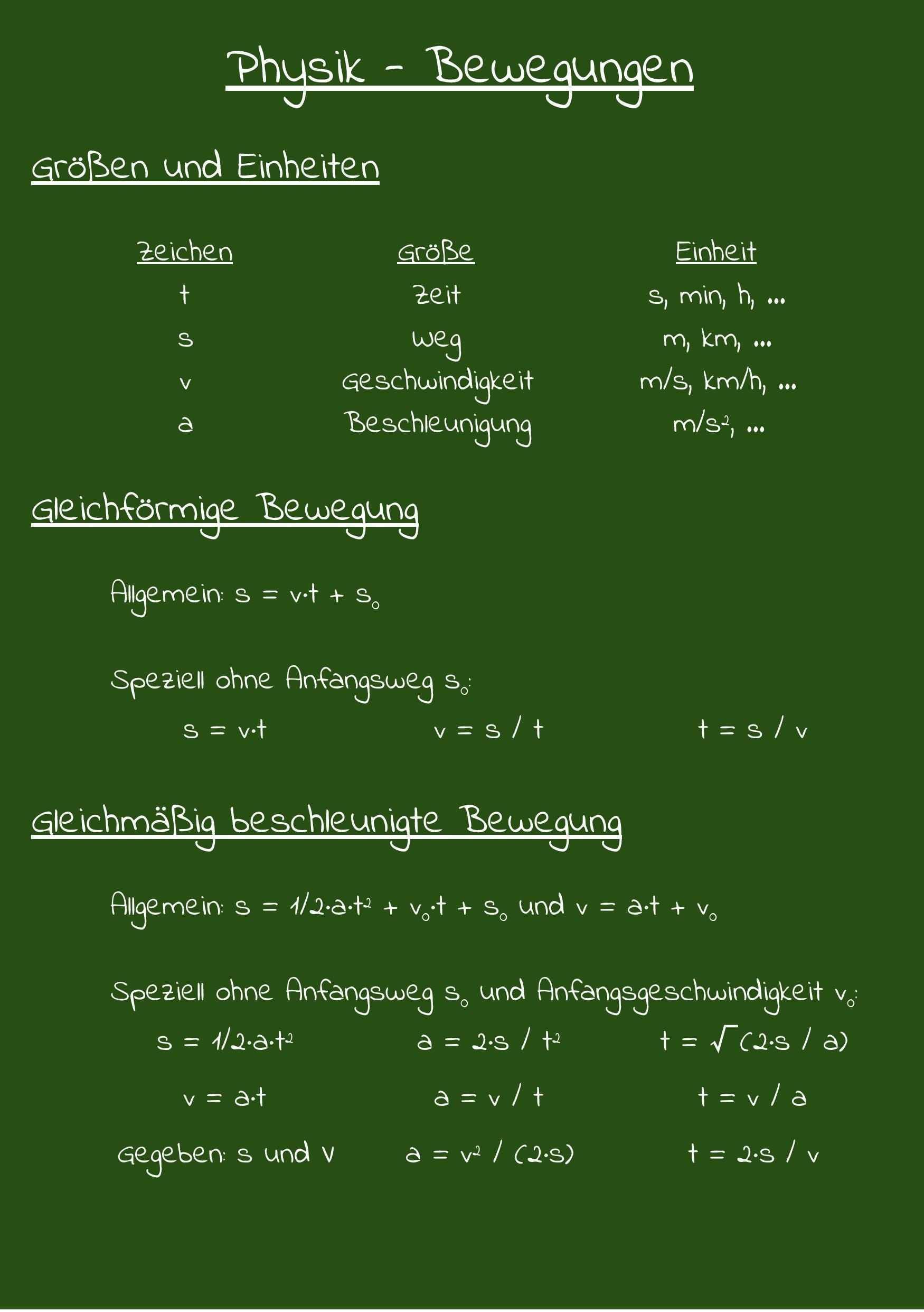 Gleichformige Bewegung Und Gleichmassig Beschleunigte Bewegung Physik Lernen Schulalltag Physik