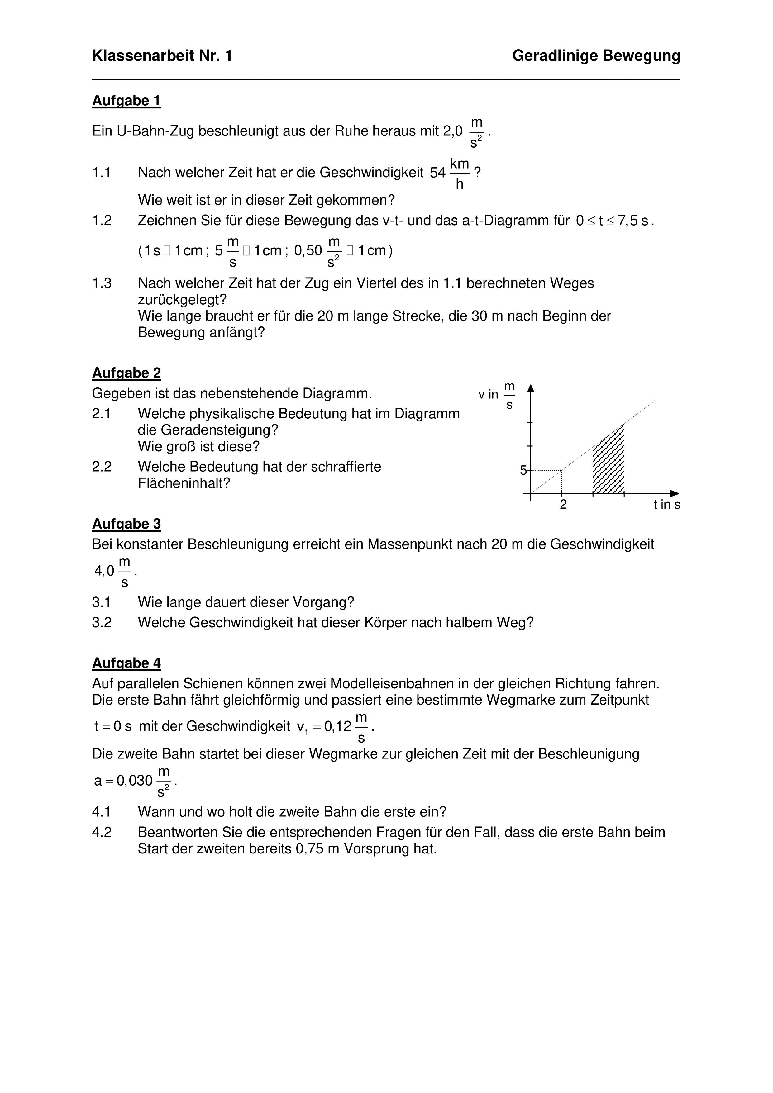 Geradlinige Bewegung 3 Ka Mit Losungswegen Unterrichtsmaterial Im Fach Physik Physik Klassenarbeiten Bewegung