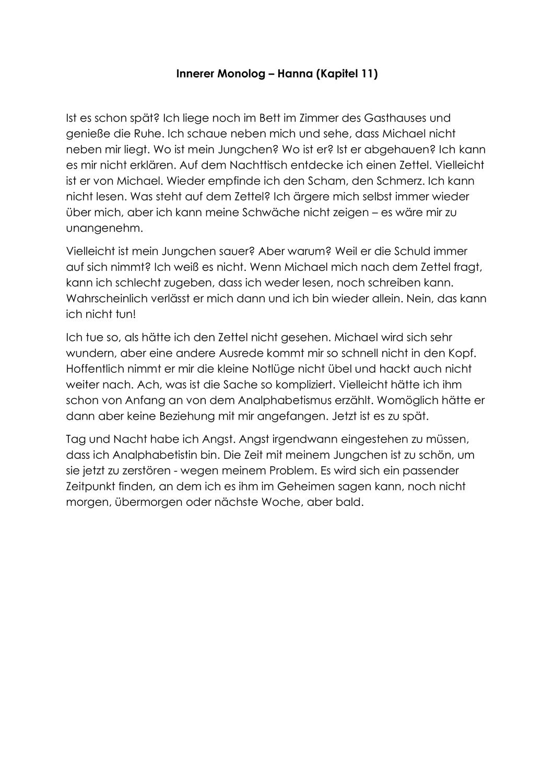 Innerer Monolog Hanna Schmitz Unterrichtsmaterial Im Fach Deutsch Innerer Monolog Der Vorleser Vorleser