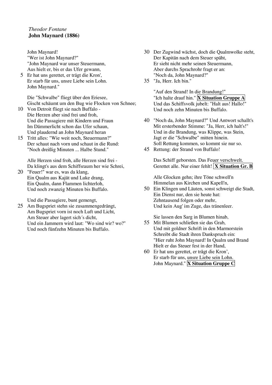 Ballade John Maynard Innerer Monolog In Gruppenarbeit Innerer Monolog Gruppenarbeit Deutsch Lernen
