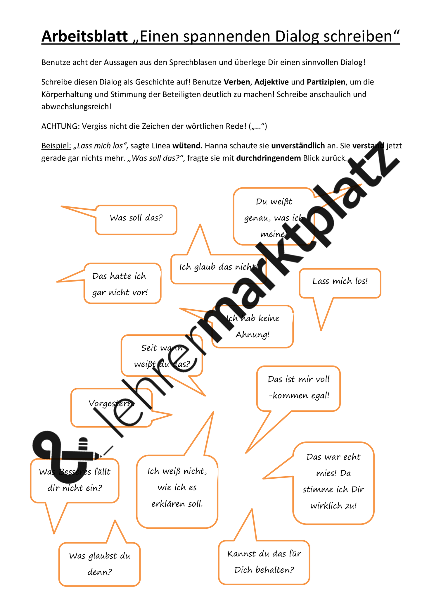 Arbeitsblatt Einen Spannenden Dialog Schreiben Unterrichtsmaterial Im Fach Deutsch Deutsch Unterricht Arbeitsblatter Adjektive