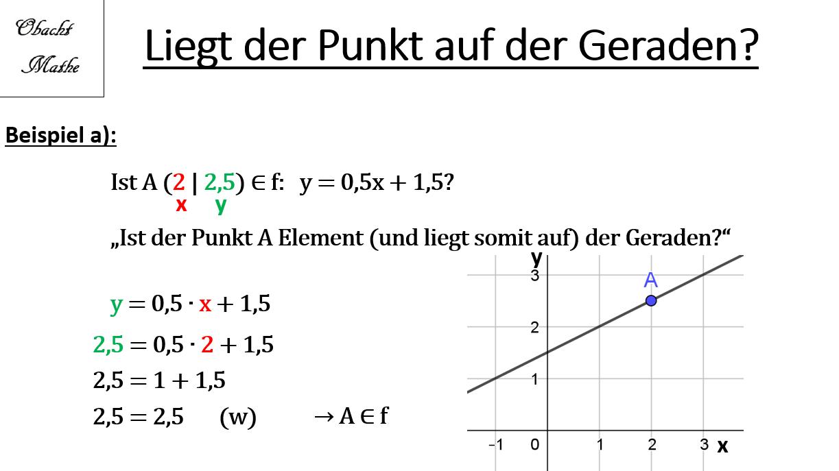 Liegt Der Punkt Auf Der Geraden Punktprobe Geraden Lineare Funktionen Punkte Einfach Erklart Obachtmathe Mathe Mathe Abitur Lernen Tipps Schule