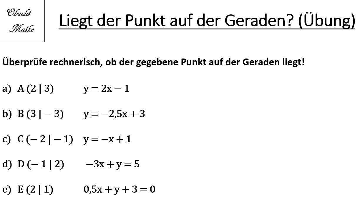 Liegt Der Punkt Auf Der Geraden Punktprobe Lineare Funktionen Geraden Ubungen Mit Losungen Obachtmathe Mathe Lineare Funktion Mathematik
