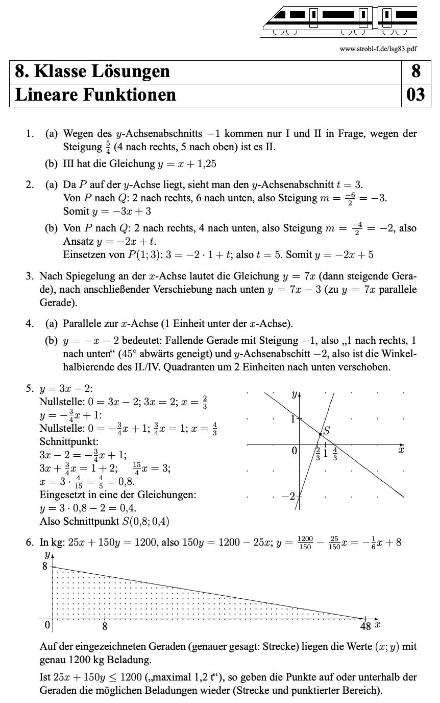 Lineare Funktionen Aufgaben Mit Losungen Pdf Download Nachhilfe Mathe Lineare Funktion Mathe Unterrichten