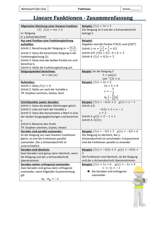Zusammenfassung Lineare Funktionen Unterrichtsmaterial Im Fach Mathematik Lineare Funktion Mathematikunterricht Mathematik