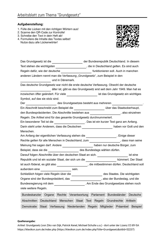 Arbeitsblatter Zum Thema Arbeitsblatter Grundgesetz Aufgabenstellung