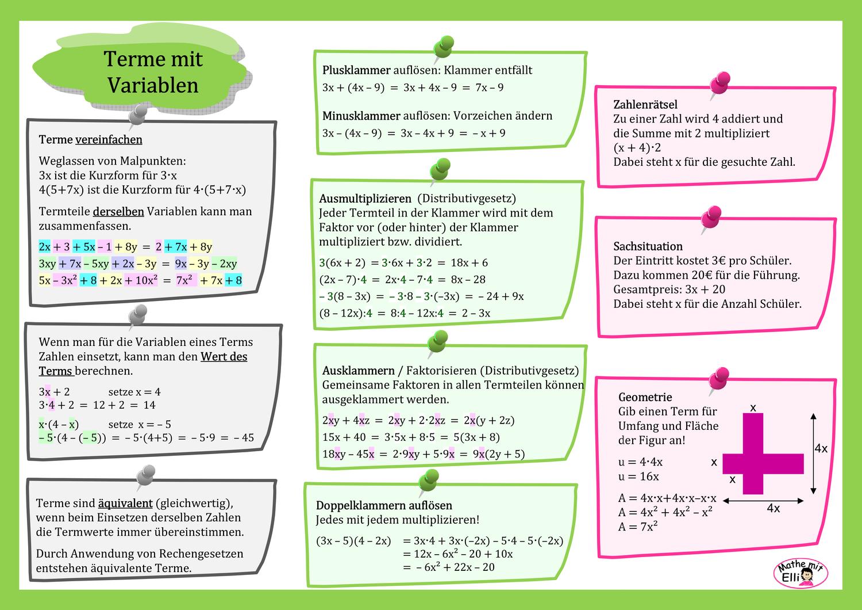 Info Terme Mit Variablen Unterrichtsmaterial Im Fach Mathematik Ausmultiplizieren Mathematikunterricht Mathematik