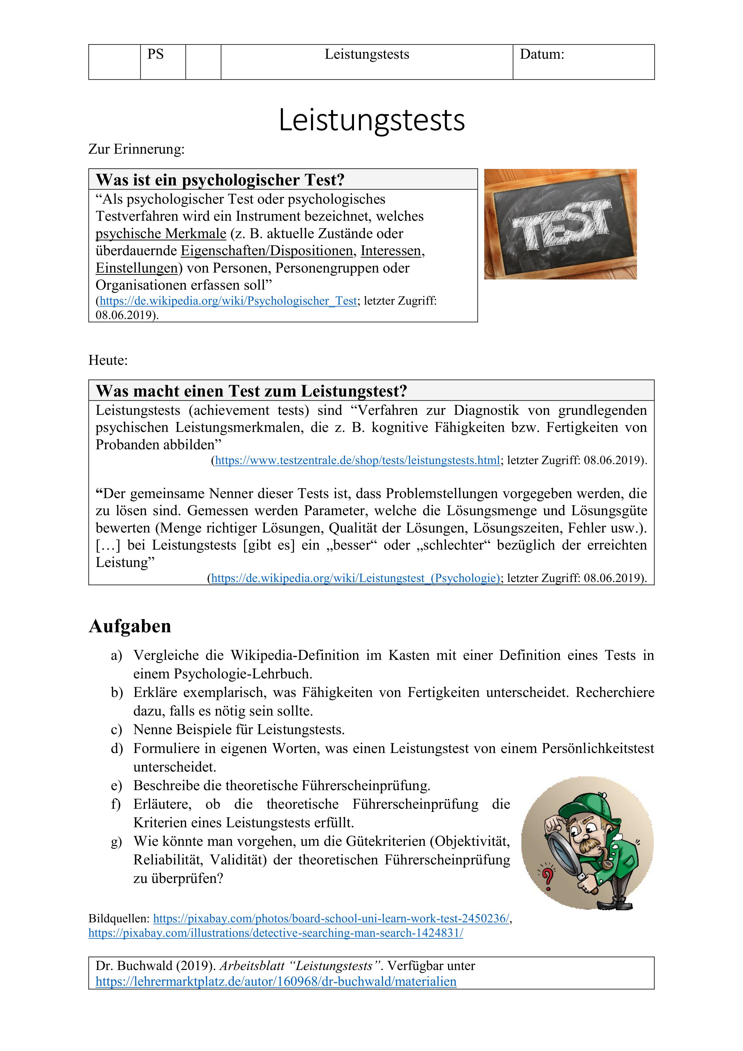 Leistungstests Arbeitsblatt Psychologie Unterrichtsmaterial Im Fach Psychologie Psychologie Arbeitsblatter Unterrichtsmaterial