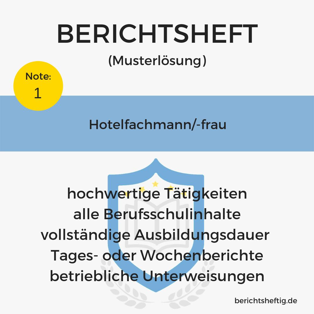 Hotelfachmann Frau Fertiges Berichtsheft Download