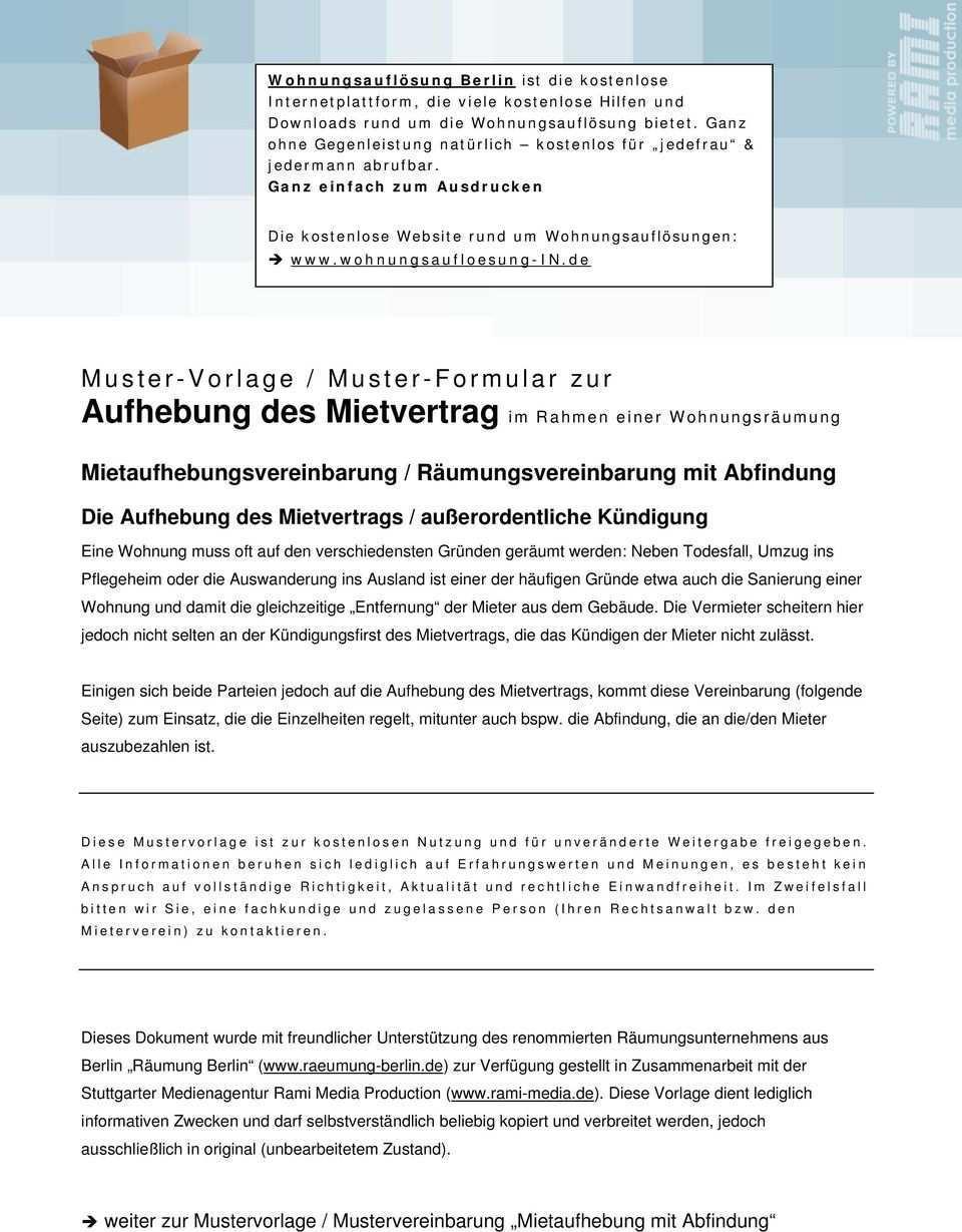 Muster Vorlage Muster Formular Zur Aufhebung Des Mietvertrag Im Rahmen Einer Wohnungsraumung Pdf Kostenfreier Download