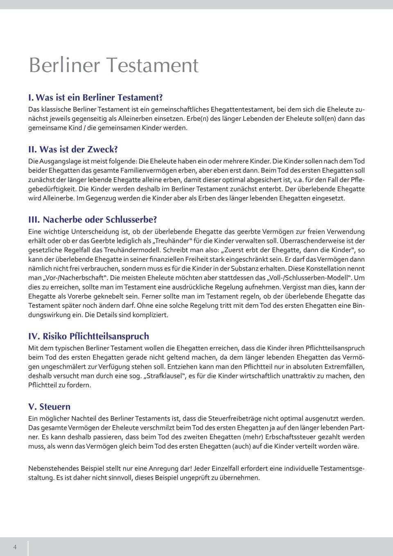 Fakten Zum Erbrecht Gesetzliche Erbfolge Berliner Testament Pflichtteil Steuern Pdf Free Download