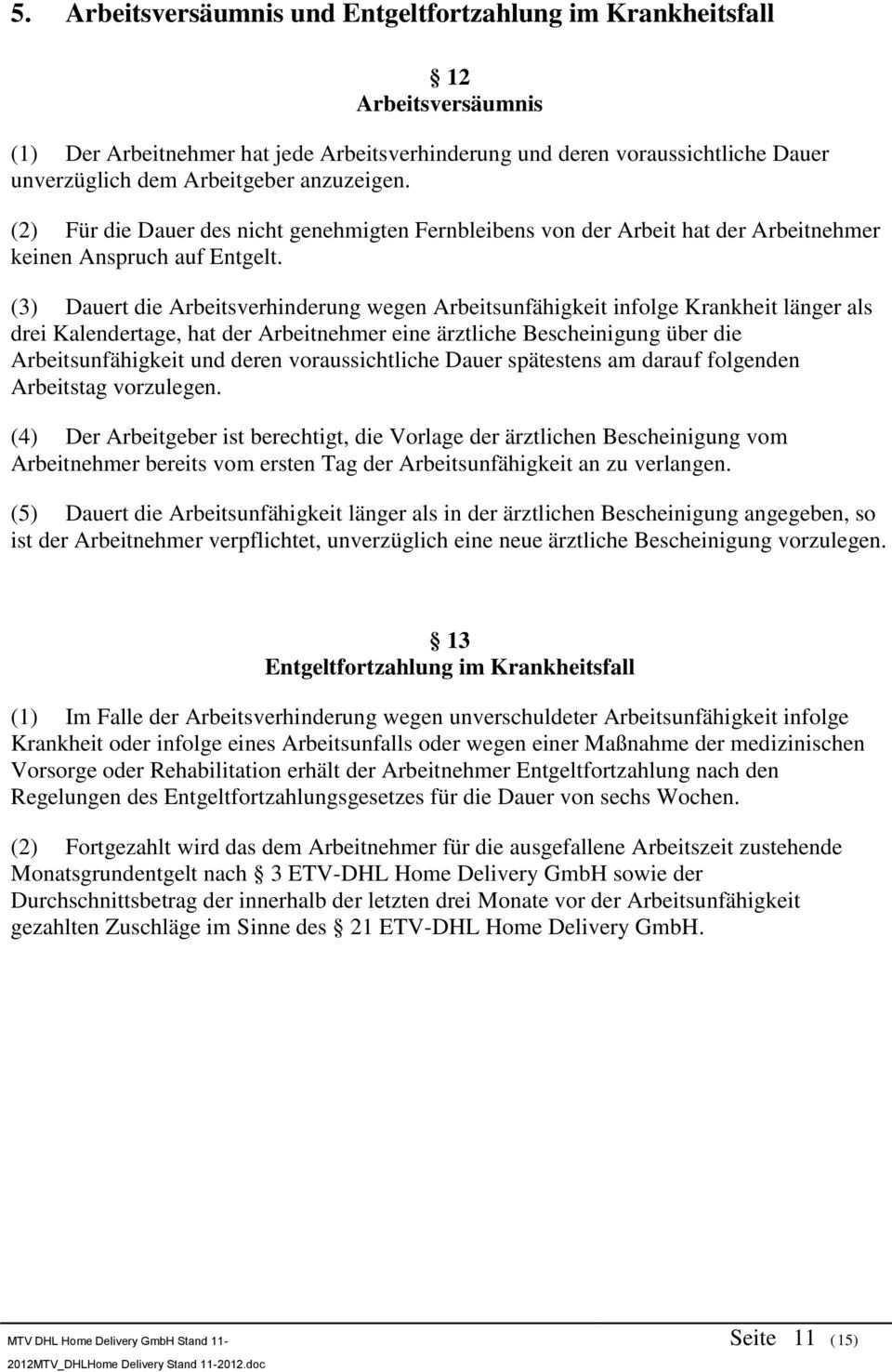 Tarifvertrag Nr 1 Zwischen Dhl Home Delivery Gmbh Vertreten Durch Ihre Geschaftsfuhrung Sitz Bonn Einerseits Und Pdf Kostenfreier Download