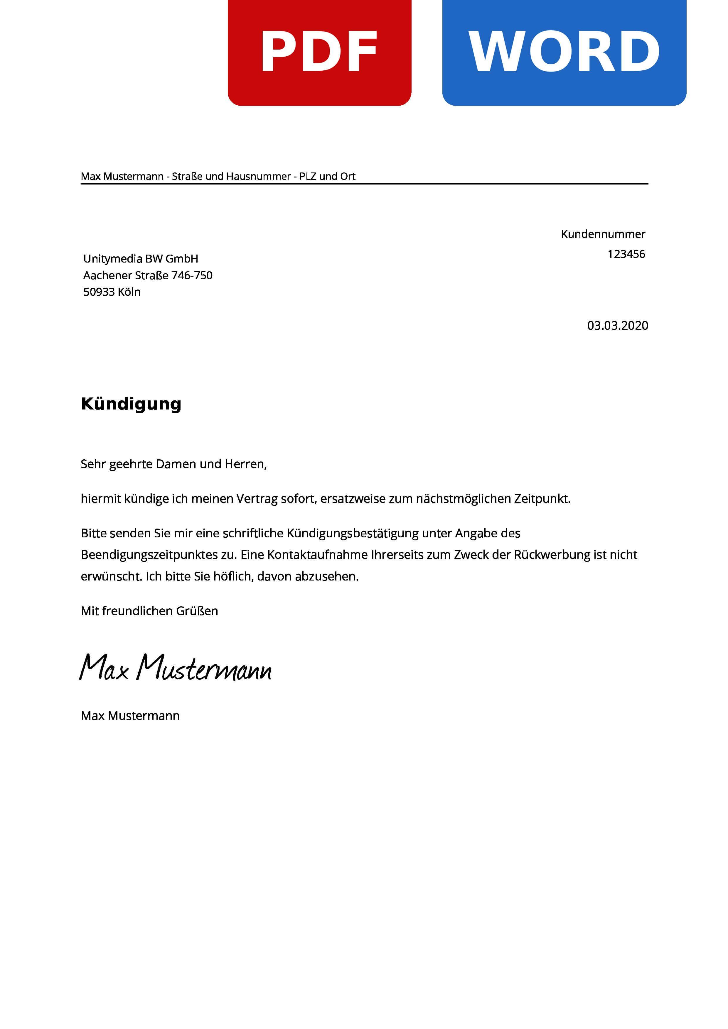Unitymedia Kundigung Muster Vorlage Zum Ausdrucken