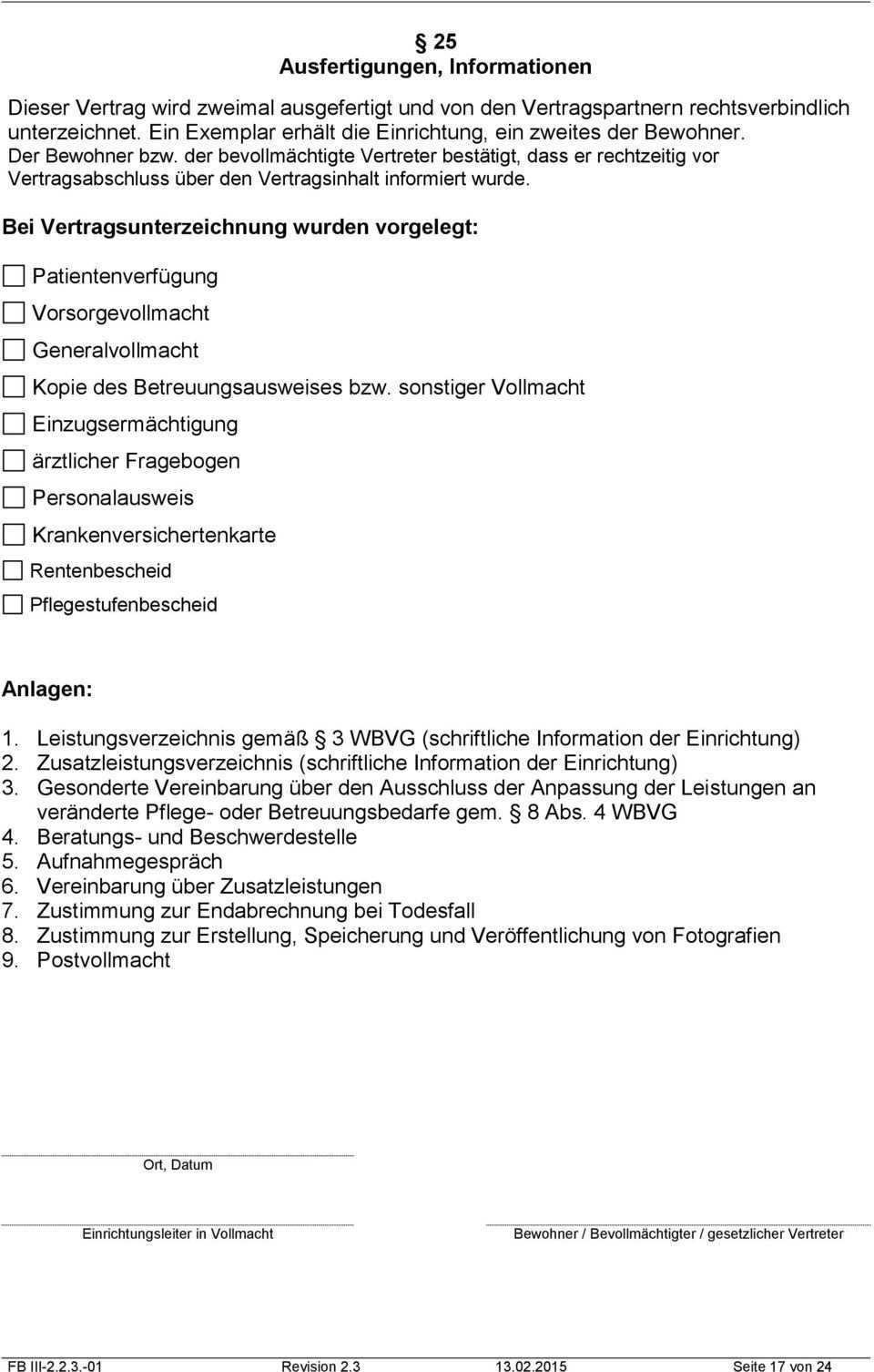 Heimvertrag Fur Stationare Pflege Pdf Kostenfreier Download