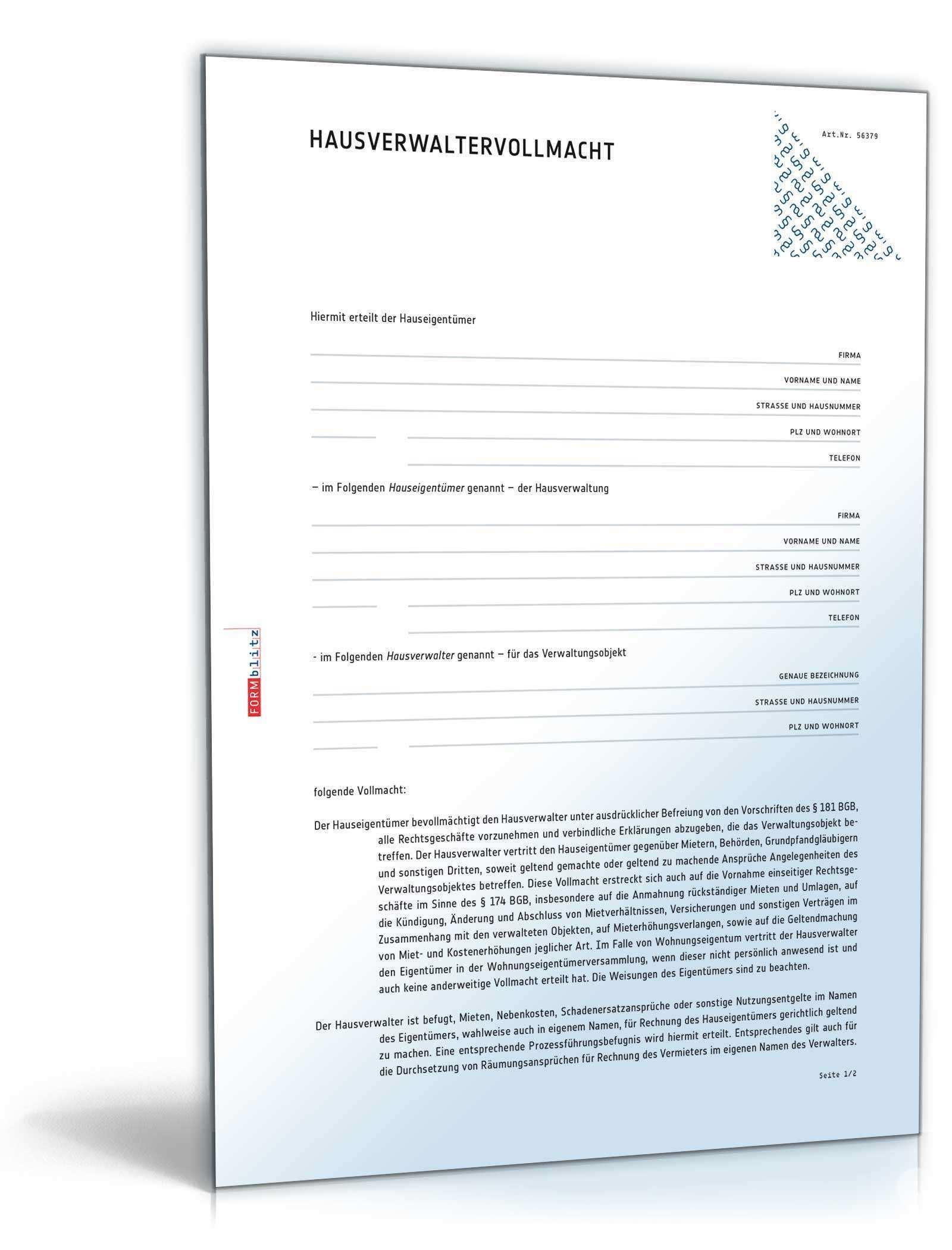 Hausverwaltervollmacht Muster Zum Download