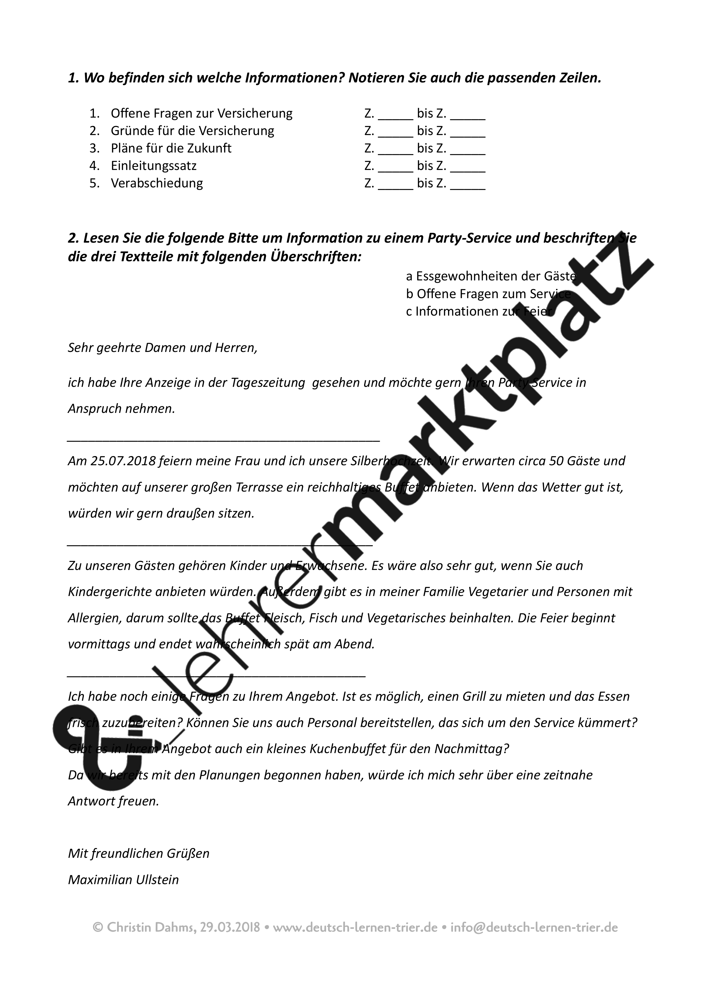 B2 Telc Schriftlicher Ausdruck Bitte Um Informationen Muster Unterrichtsmaterial Im Fach Daz Daf Brief Deutsch Briefe Schreiben Daf