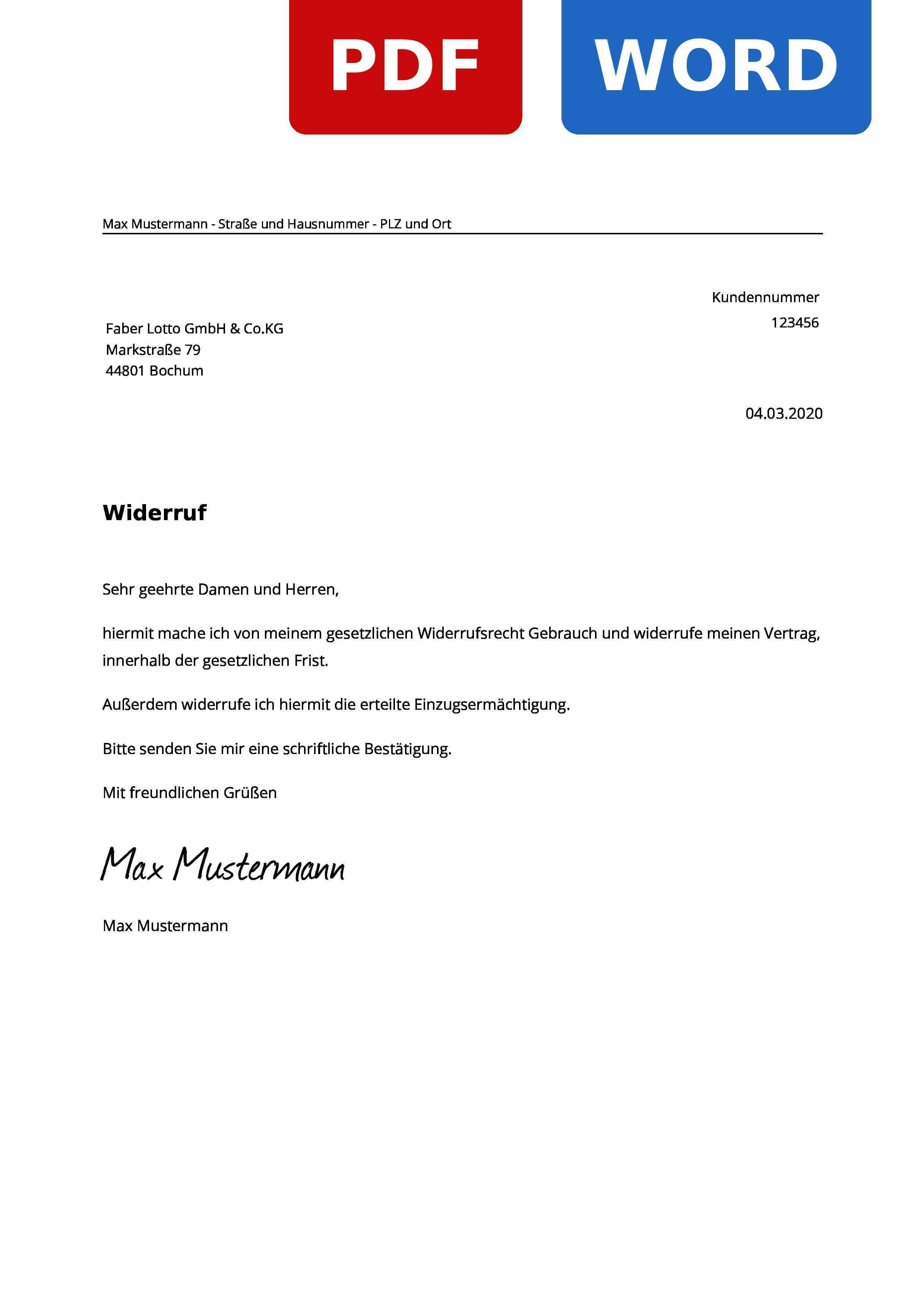 Faber Lotto Widerruf Widerrufsrecht Widerrufsfrist Widerrufsformular
