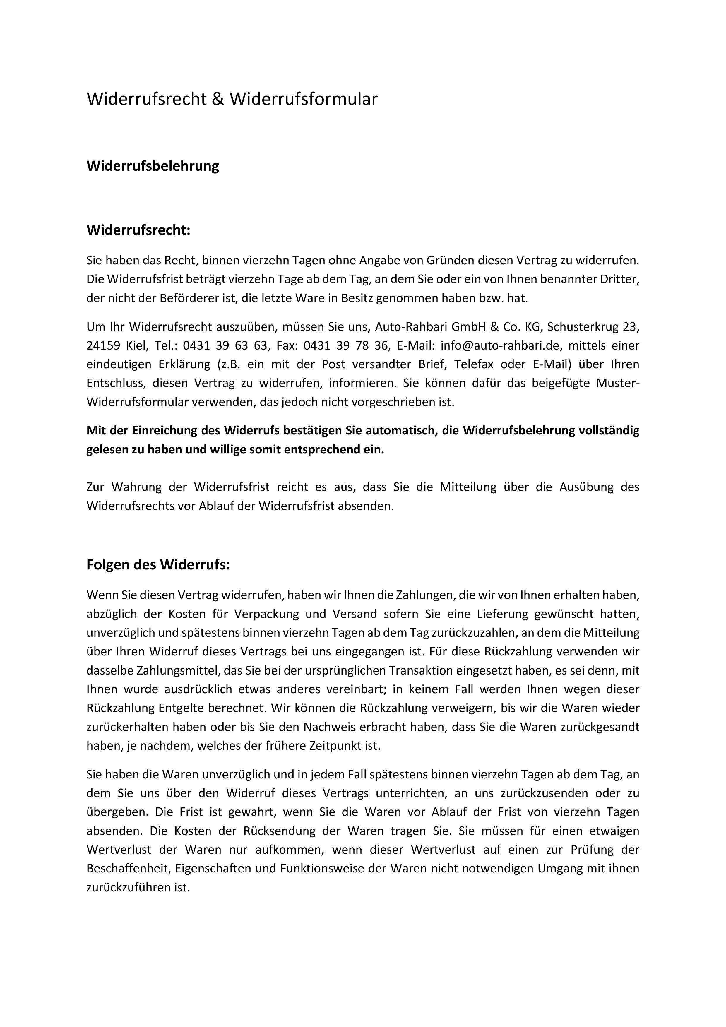 Widerrufsrecht Widerrufsformular Auto Rahbari
