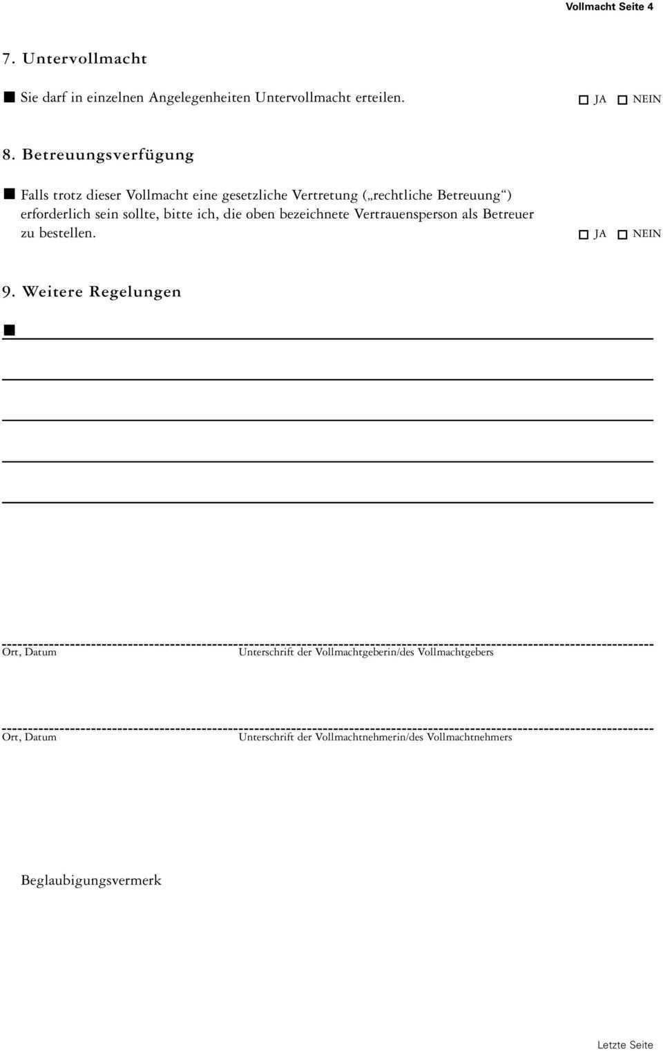 Konto Depotvollmacht Vorsorgevollmacht Pdf Free Download