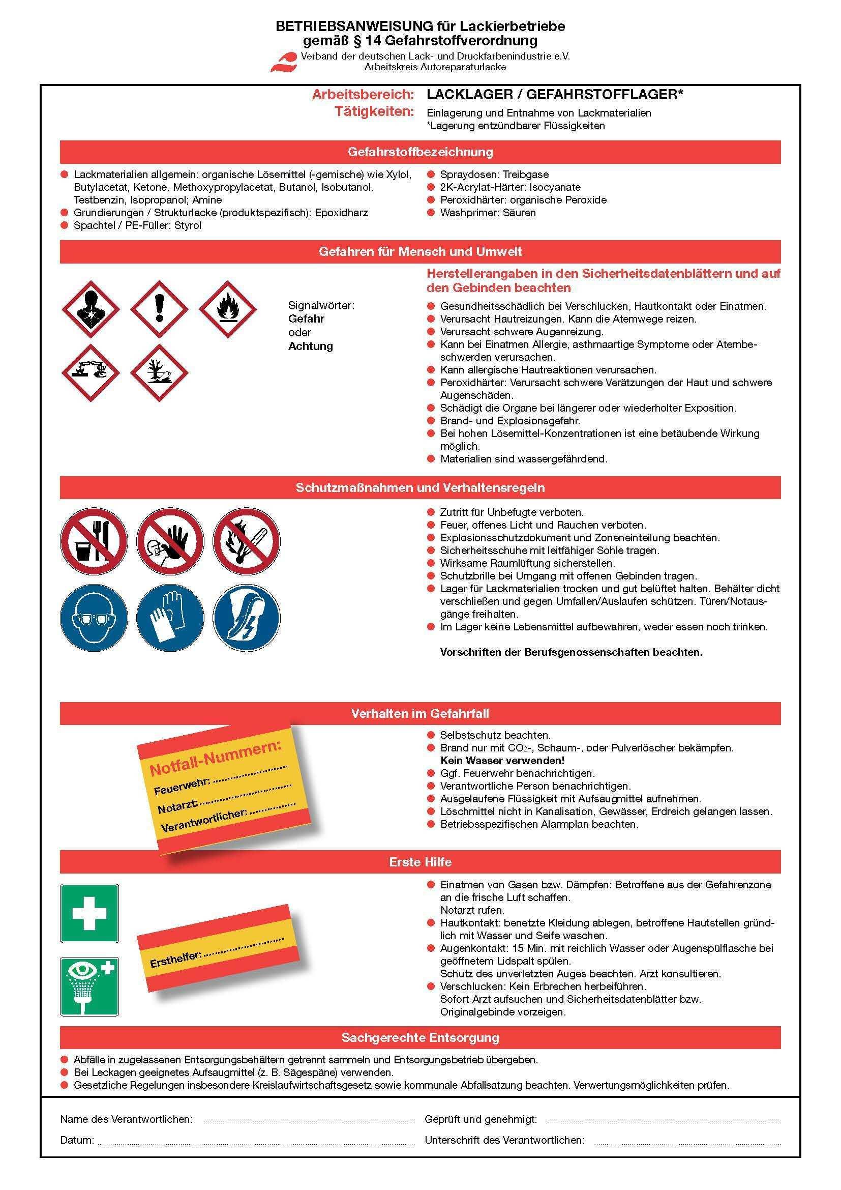 Betriebsanweisungen Fur Lackierbetriebe Gemass 14 Gefahrstoffverordnung Bundesverband Farbe