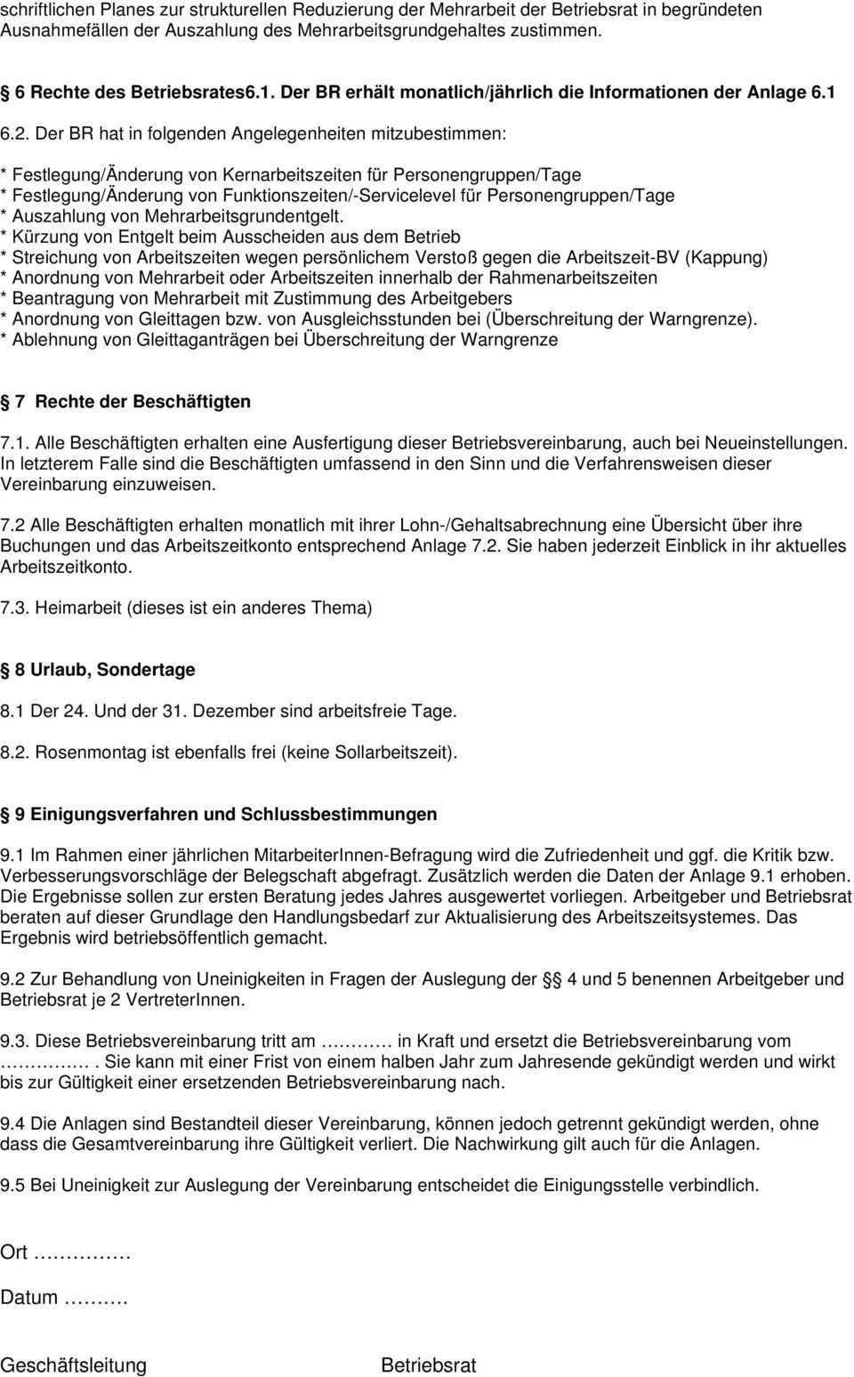 Muster Betriebsvereinbarung Zum Thema Arbeitszeit Pdf Kostenfreier Download