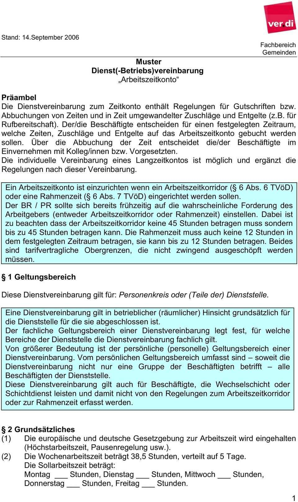 Muster Dienst Betriebs Vereinbarung Arbeitszeitkonto Pdf Free Download