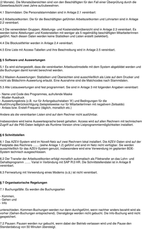 Muster Betriebsvereinbarung Zum Thema Arbeitszeiterfassung Und Verarbeitung Azev Pdf Free Download