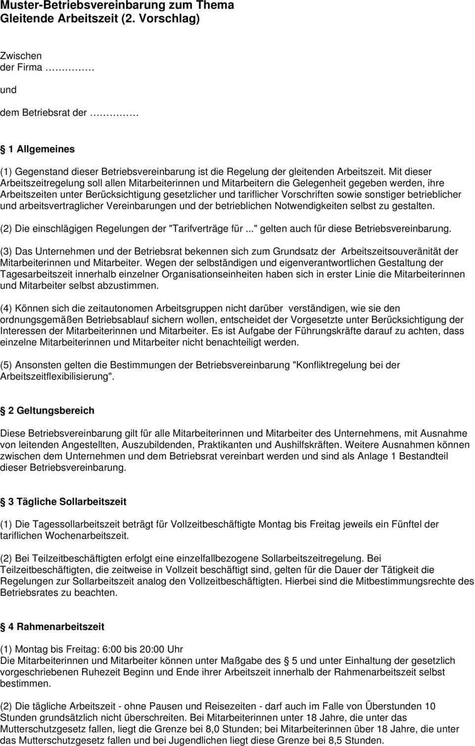 Muster Betriebsvereinbarung Zum Thema Gleitende Arbeitszeit 2 Vorschlag Pdf Free Download