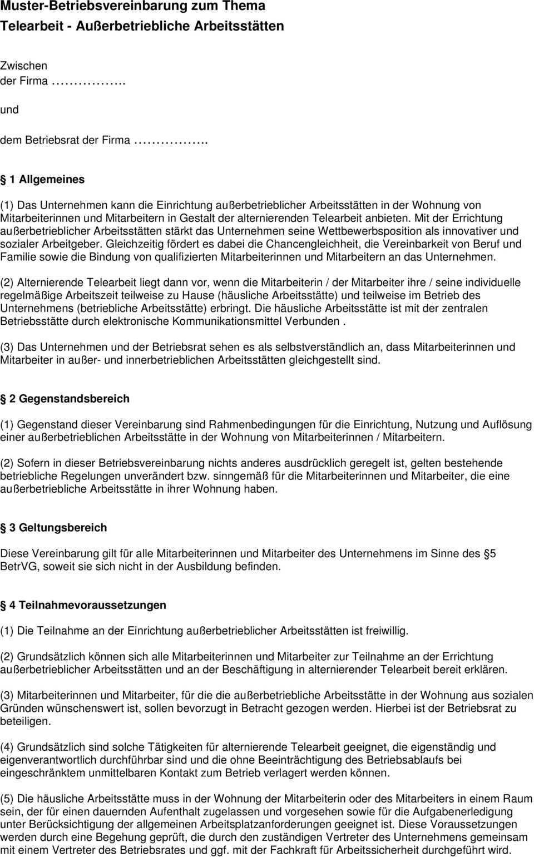 Muster Betriebsvereinbarung Zum Thema Telearbeit Ausserbetriebliche Arbeitsstatten Pdf Free Download
