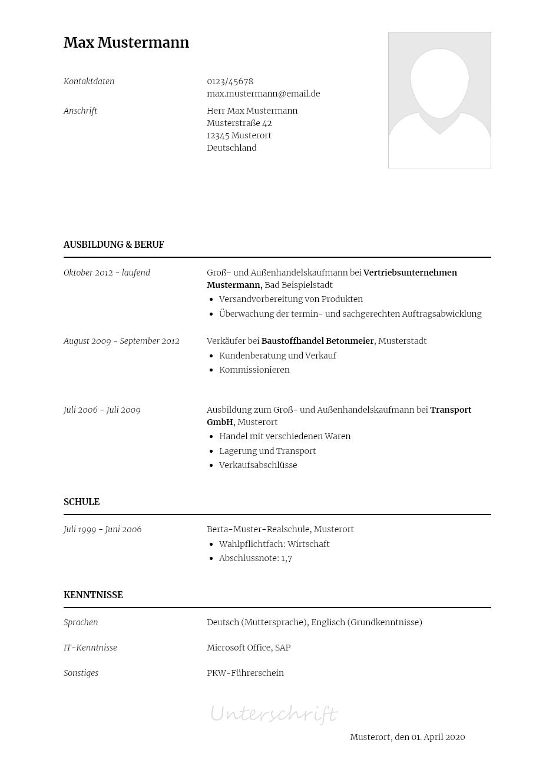 Bewerbungsvorlagen Als Aussendienstmitarbeiter Klassisch Bewerbung2go