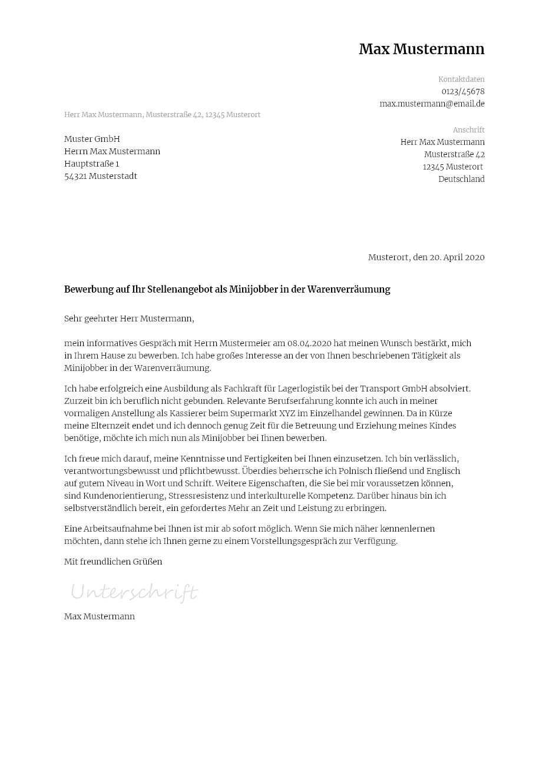 Bewerbungsvorlagen Fur Minijobs Klassisch Bewerbung2go