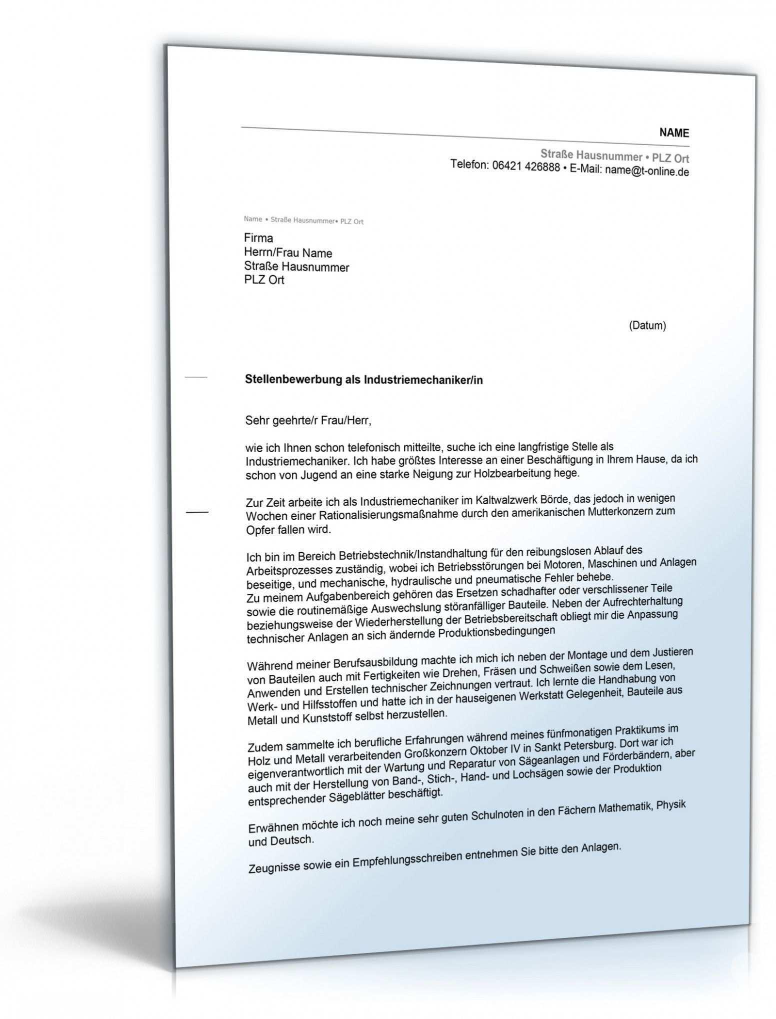 Industriemechaniker Bewerbung Vorlage Lebenslauf Briefvorlagen Vorlagen Lebenslauf
