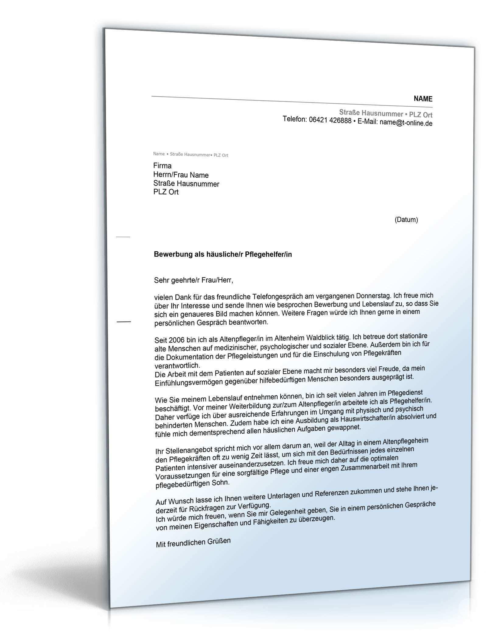 Anschreiben Bewerbung Pflegehelfer Muster Zum Download Bewerbung Anschreiben Muster Pflegehelfer Pflege In 2020 Document Templates Resume Template Free Templates