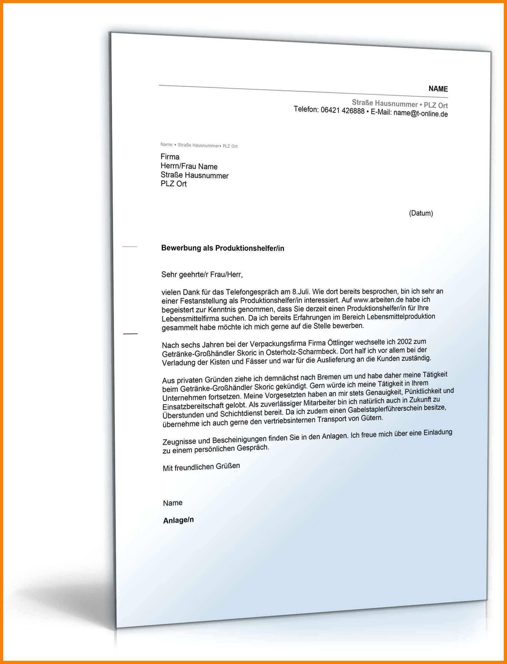 Frisch Bewerbungsschreiben Produktionshelfer Ohne Erfahrung Briefprobe Briefformat Briefvorlage Anschreiben Vorlage Lebenslauf Bewerbung Schreiben