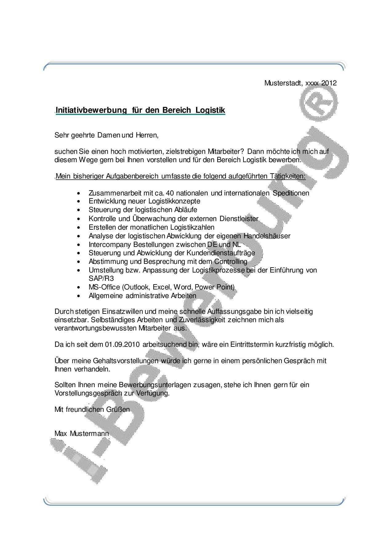 Muster Anschreiben Zur Initiativbewerbung Bereich Logistik Bewerbung Anschreiben Vorlagen Lebenslauf