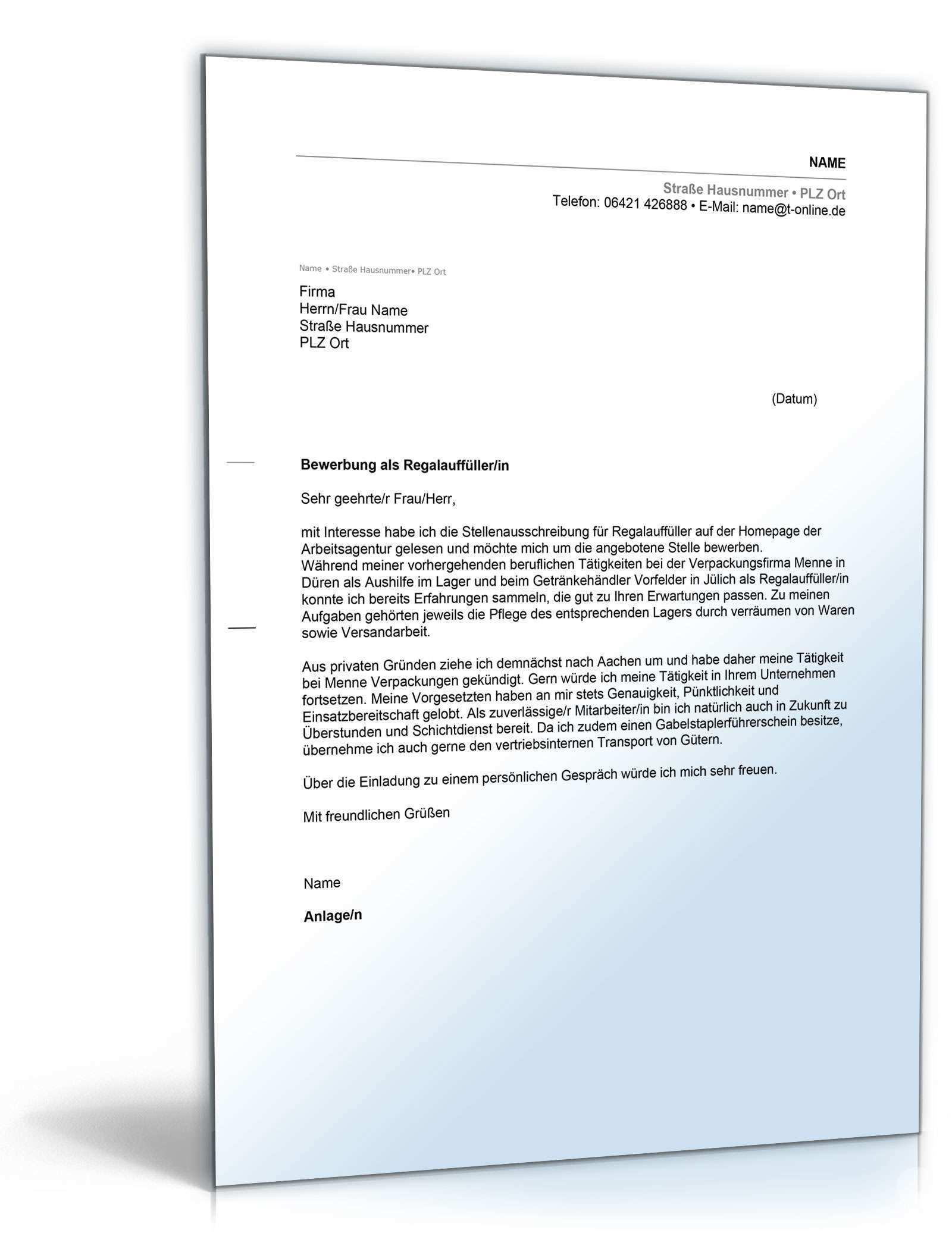 Anschreiben Bewerbung Regalauffuller Muster Zum Download
