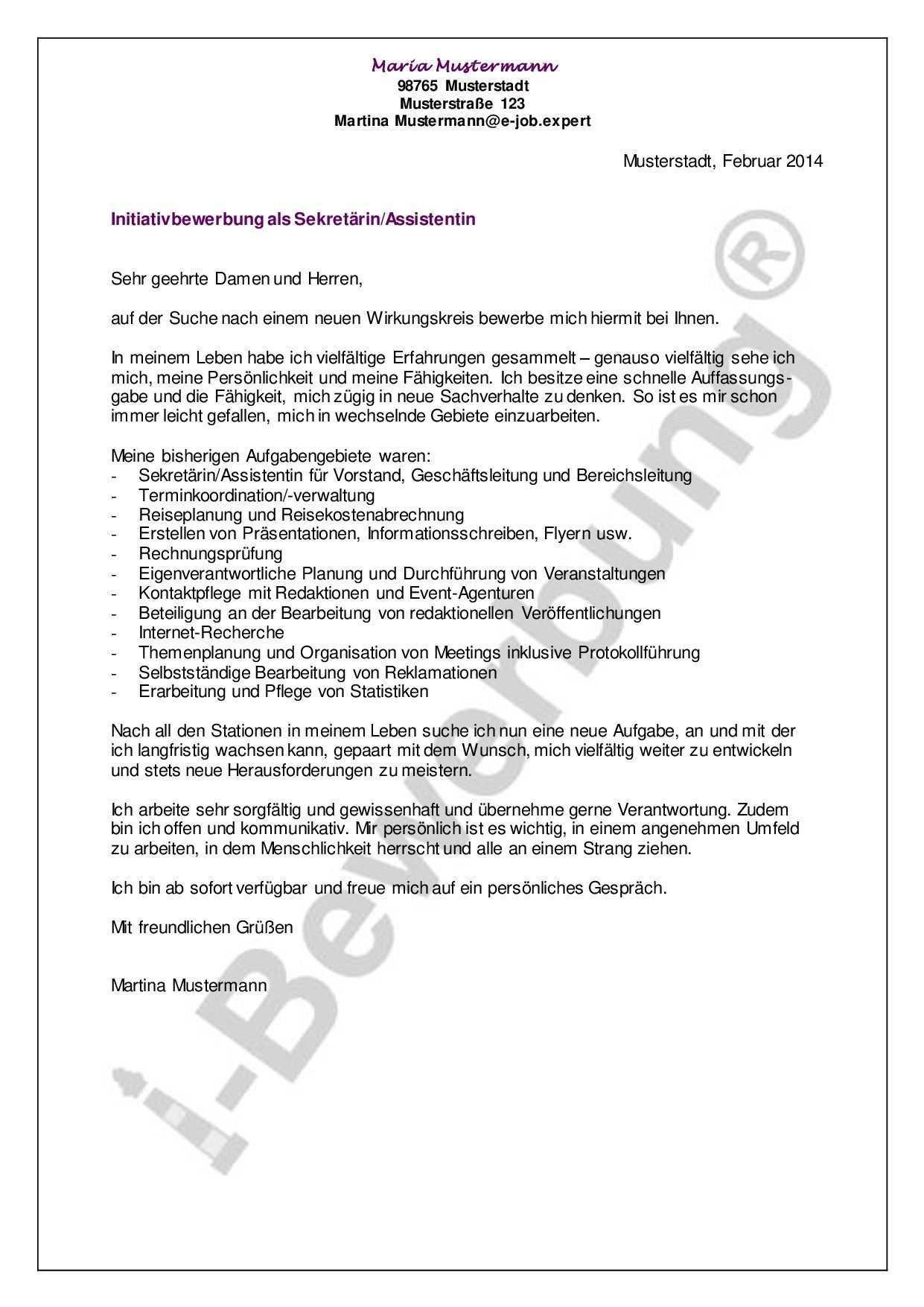 Initiativbewerbung Als Sekretarin Assistentin Beispiel Bewerbung Anschreiben Muster Bewerbung Anschreiben Bewerbung