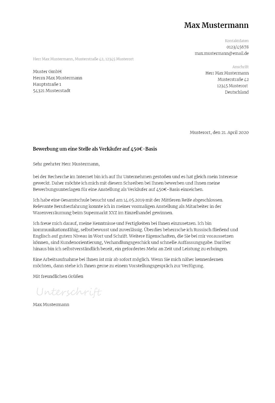 Bewerbungsvorlagen Fur 450 Euro Jobs Klassisch Bewerbung2go