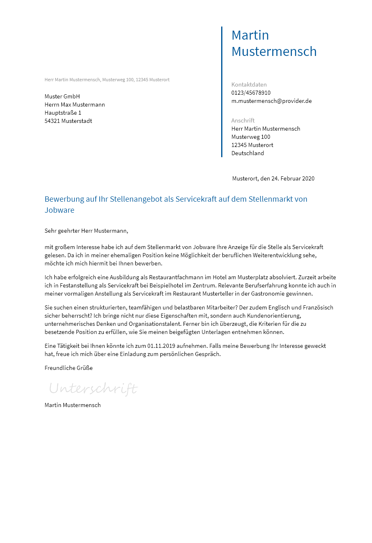 Bewerbungsvorlagen Als Servicekraft Bewerbung2go