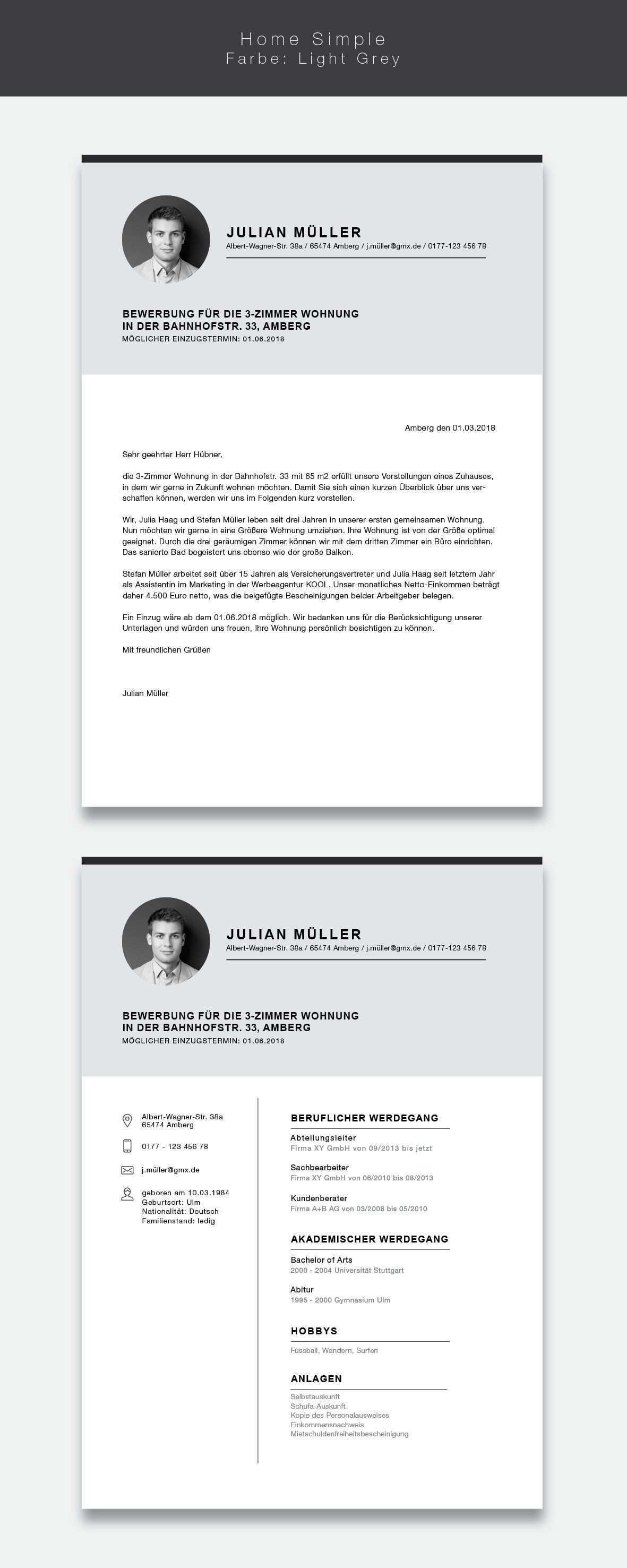 Unsere Neue Wohnungsvorlage Cvtemplate Home Simple In Der Farbe Light Grey Mit Der Vorlage Home Wohnungssuche Berufliche Motivation Kreative Bewerbung
