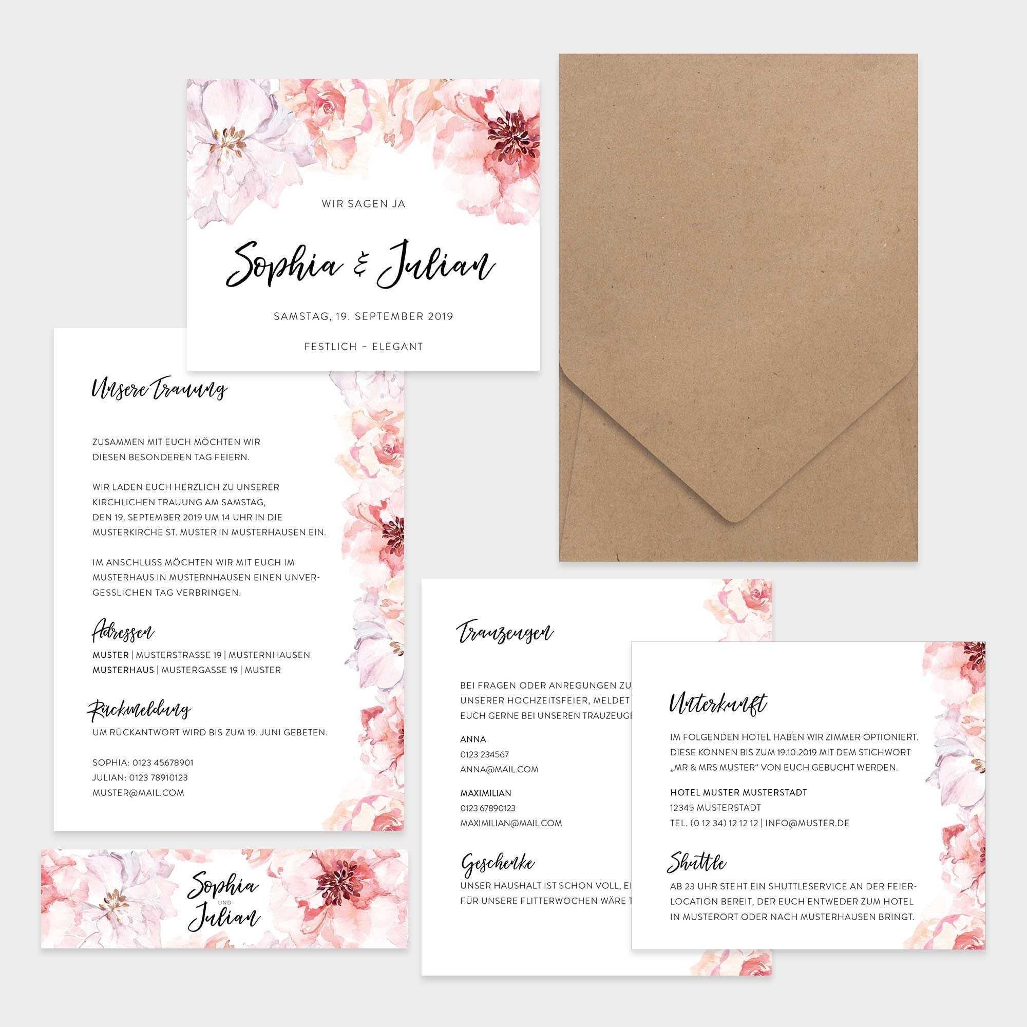Hochzeitseinladung Pocketfolder Aquarell Flowers Mit Umschlag Fawntastique Hochzeitseinladung Einladungen Einladung Ideen